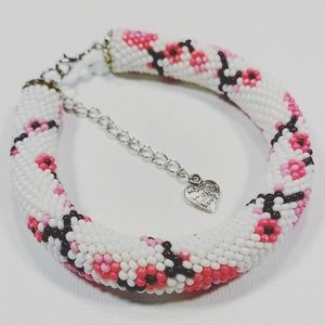 Handmade seed beads crocheted rope bracelet